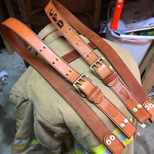 Handmade Leather Fire Fighter Suspenders